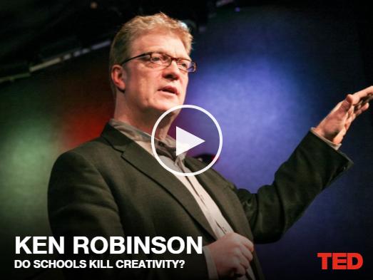 Ken Robinson : l'école tue la créativité, conférence donnée sur TED.com sur les problèmes liés aux institutions académiques et la diminution de la créativité chez les adultes